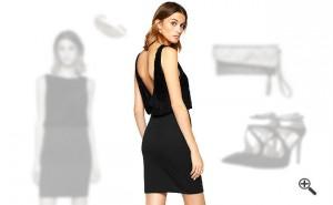 Schwarzes Kleid mit Rückenausschnitt
