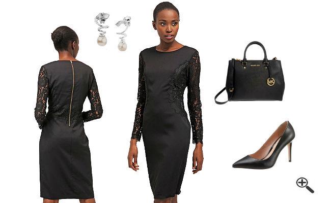 Büro Outfit Ideen Schwarzes Etuikleid Langarm Spitze