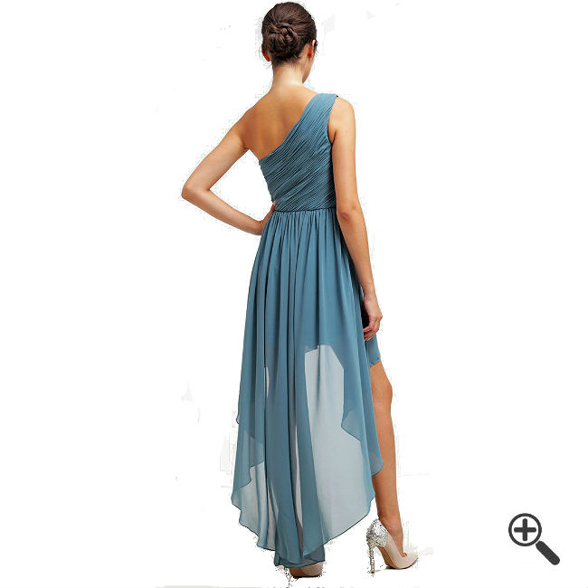 Langes One Shoulder Kleid Blau