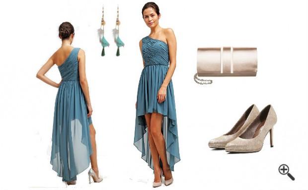 | One Shoulder Kleid Blau Lang Sexy Outfit | Kleider ...