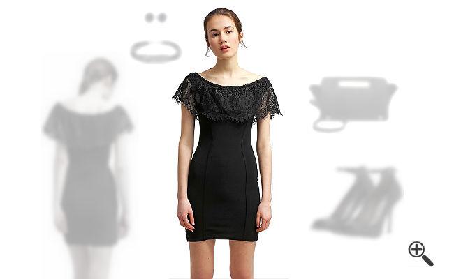 Schulterfreies Kleid mit Ärmel Schwarzes Outfit