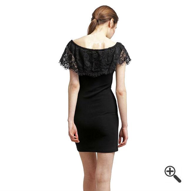 Schulterfreies Kleid mit Ärmel