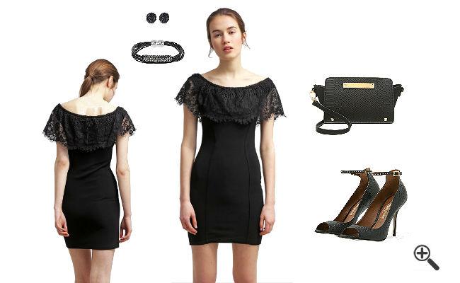 Schulterfreies Kleid mit Ärmeln Schwarzes Outfit