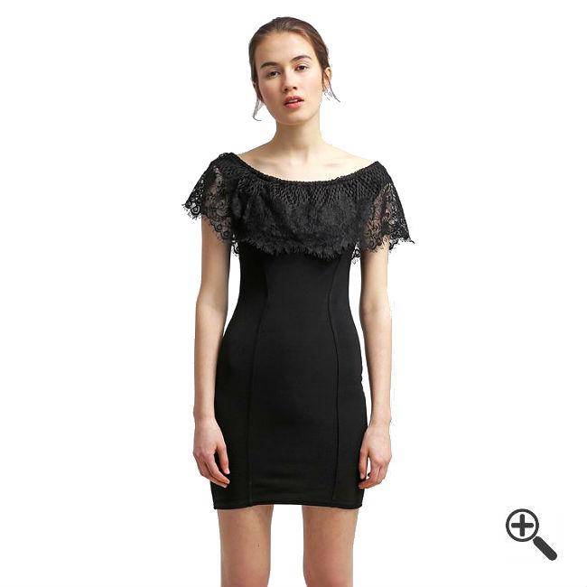 Schulterfreies Kleid mit Ärmeln
