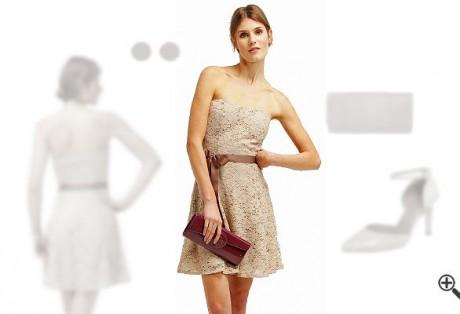 Beiges Cocktailkleid in Kurzkombinieren + 3Beige Outfits fürNadja