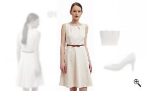 Beiges KleidkombinierenBeiges Outfit