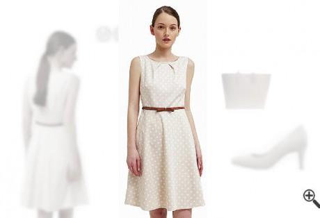 Beiges Kleid in Kurzkombinieren + einBeiges Outfit für Alina