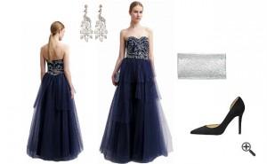 Blaues Abendkleid Langkombinieren Blaue Outfits
