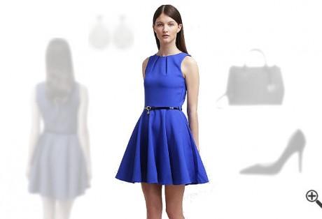 Blaues Cocktailkleid kombinieren BlaueOutfits
