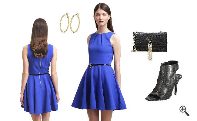 blaues kleid kombinieren schuhe