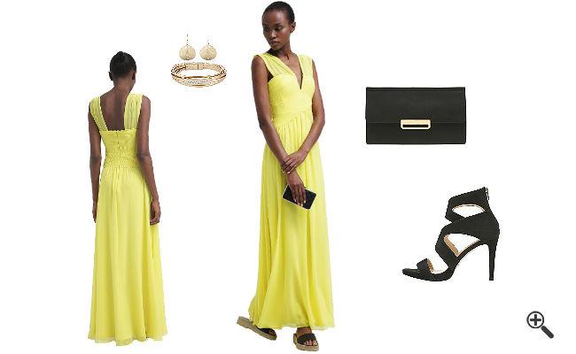 Gelbes Abendkleid Langkombinieren Gelbe Outfits