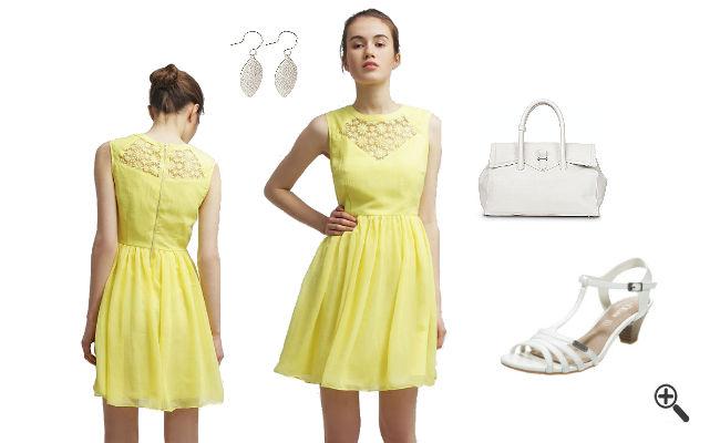 Gelbes Kleid kurzkombinieren Gelbe Outfits