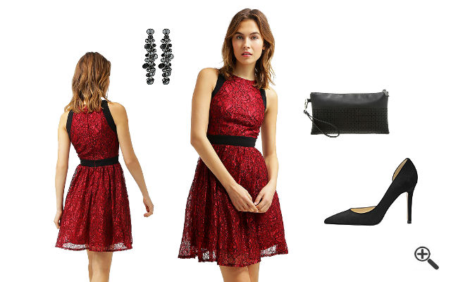 Rotes Kleid Kurz kombinieren Rote Outfits