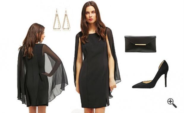 | Schwarzes Kleid Kurz kombinieren Schwarze Outfits ...