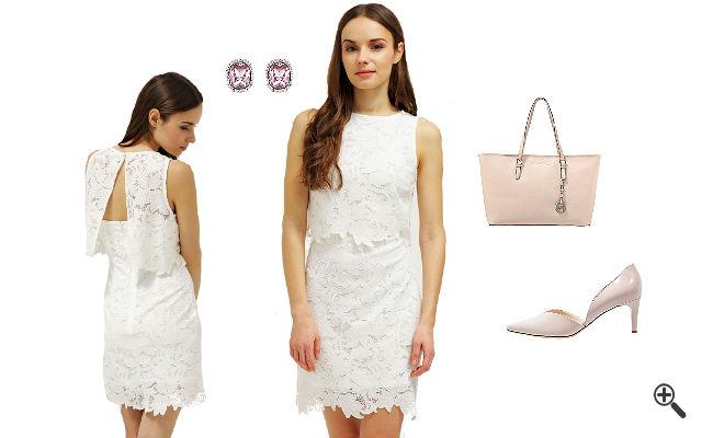 Weißes Cocktailkleid KurzkombinierenWeiße Outfits