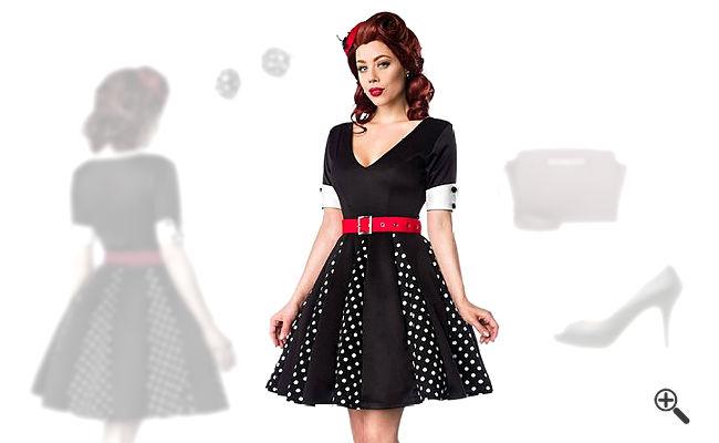 Rockabilly Kleid Schwarz 50er Outfit